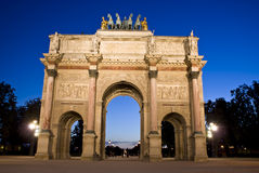 The smaller Arc de Triomphe. Du Carrousel was built by Napoleon I to commemorate victories of the French armies Royalty Free Stock Photo