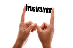 Smaller frustration. Color horizontal shot of a of two hands squeezing the word frustration Stock Images
