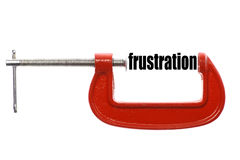 Smaller frustration. The word frustration is compressed with a vice Stock Images