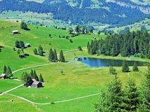 The smaller lake Schwendisee Hinter Schwendisee, Wildhaus. Canton of St. Gallen, Switzerland royalty free stock image