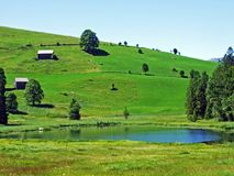 The smaller lake Schwendisee Hinter Schwendisee, Wildhaus. Canton of St. Gallen, Switzerland royalty free stock photography