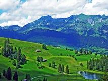 The smaller lake Schwendisee Hinter Schwendisee, Wildhaus. Canton of St. Gallen, Switzerland royalty free stock photo