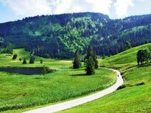 The smaller lake Schwendisee Hinterer Schwendisee, Wildhaus. Canton of St. Gallen, Switzerland stock images