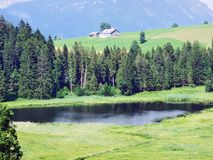 The smaller lake Schwendisee Hinterer Schwendisee, Wildhaus. Canton of St. Gallen, Switzerland royalty free stock photo