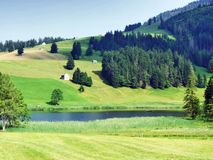 The smaller lake Schwendisee Hinterer Schwendisee, Wildhaus. Canton of St. Gallen, Switzerland stock photos