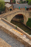 Smaller Mostar Bridge called Kriva Cuprija over Rabobolja Creek Royalty Free Stock Image
