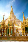 Smaller pagodas encircling main Shwedagon, Myanmar Royalty Free Stock Photos