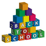 Smaller school built of toy blocks. Smaller school with colored roof made of toy blocks with the inscription Back to school stock illustration