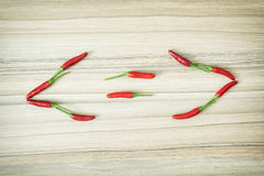 Smaller-than, greater-than and equal sign of chilli peppers Royalty Free Stock Photo