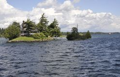 The Smallest Bridge between Canada and United States Border from Thousand Islands Archipelago