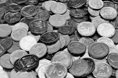 The smallest denominations of Ukrainian coins, 1 and 2 kopiykas. Produced by the National Bank of Ukraine, are being withdrawn from circulation Stock Photos
