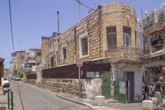 Smalll street in the Vadi Nisnas Quarter, Haifa, Israel. Royalty Free Stock Images