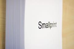 Smallprint Stock Image