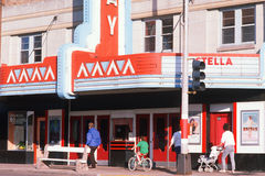 Smalltown movie theatre,. Marquee of a smalltown movie theatre, Bayfield, WI Stock Images