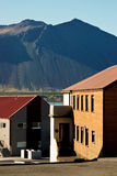 Smalltown view. Downhill view across a small street in the icelandic town of Borgarnes Royalty Free Stock Image