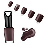 Smalto di colore del cioccolato, spazzola, campione Fotografia Stock