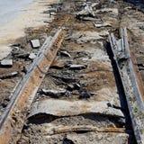 Smantellamento delle rotaie vecchie del tram Fotografie Stock