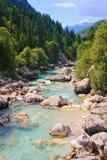 Smaragd farbiger alpiner Fluss stockbild