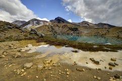 Smaragd sjölandskap, Tongariro nationalpark Arkivfoto