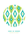 Smaragdgrün ikat Diamantkreis-Dekormuster Lizenzfreie Stockfotos
