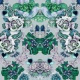 Smaragdgroene druk met stenen, diamanten, kristallen, bloemen, saffier en juwelen royalty-vrije stock afbeeldingen