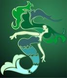 Smaragdgroene meermin stock illustratie