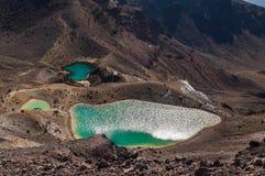 Smaragdgroene Meren, Nationaal Park Tongariro Stock Foto's