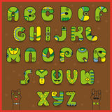 Smaragdine Alphabet. Funny green yellow letters Royalty Free Stock Photography