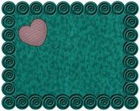 Smaragdmetallrahmen mit rosa Herzen Stockfoto