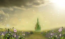 Smaragdstad med vallmo Arkivbilder
