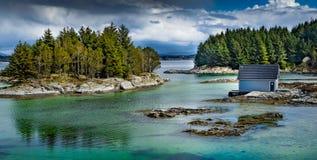 Smaragdvattenfärg av fjorden nära vid den skogsbevuxna norska stugan royaltyfria foton