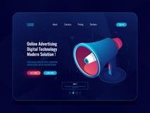 Smart advertising online concept, Loudspeaker Megaphone isometric icon, promotion social media dark neon royalty free illustration