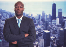 Smart african american businessman with skyline royalty free stock image