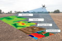 Smart agriculture concept, farmer use infrared in drone with high definition soil mapping while planting,conduct deep soil scan d. Uring a tillage pass include royalty free stock images