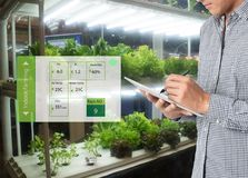 Smart agriculture in futuristic concept, farmer use technology t. O monitor, control and adjustment led, atmosphere,humidity, water level and keep tracking Royalty Free Stock Photography