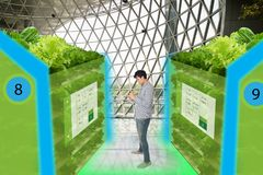 Smart agriculture in futuristic concepts,smart farmer monitor, k. Eep tracking data about water level, humidity, ph, ic, carbon dioxide, air and water Stock Photos
