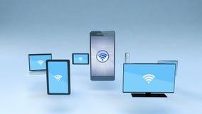 Smart aktiefunktion med allestädes närvarande mobil enhetbegrepp vektor illustrationer