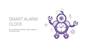 Smart Alarm Clock Template Web Banner With Copy Space. Vector Illustration Royalty Free Stock Photography