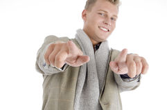 Smart american pointing with both hands Royalty Free Stock Images