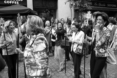 Smart andalucian women in a procession. Royalty Free Stock Photography