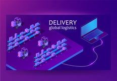 Smart app för lagerledningsystem Globalt logistikbegrepp för leverans Isometrisk vektor royaltyfri illustrationer