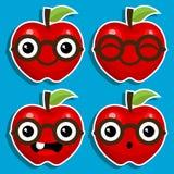 Smart Apples with Eyeglasses vector illustration