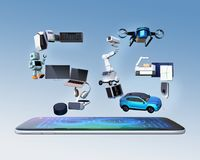 Smart appliances, drone, autonomous vehicle and robot arranged in `5G` text on smart phone. 5G concept. 3D rendering image royalty free stock photography
