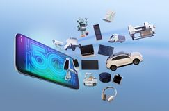 Smart appliances, drone, autonomous vehicle and robot jump from smart phone. 5G concept. 3D rendering image Royalty Free Stock Photography