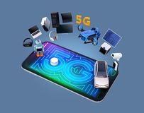 Smart appliances, drone, autonomous vehicle and robot on smart phone. 5G graphic display on the smart phone. 5G concept. 3D rendering image Stock Image
