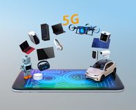 Smart appliances, drone, autonomous vehicle and robot on smart phone. 5G graphic display on the smart phone. 5G concept. 3D rendering image Royalty Free Stock Images