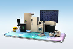 Smart appliances on a smart phone. Concept for home automation. 3D rendering image royalty free illustration