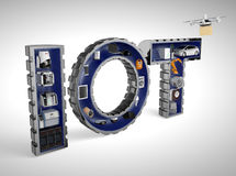 Smart appliances in word IoT. Internet of Things in industrial products concept stock illustration