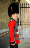Smart as a Guardsman. 21st May 2011. London. England A Coldstream Guard on Royal Guard duties in central London. Smart soldier in scarlet tunic with rifle and stock photos