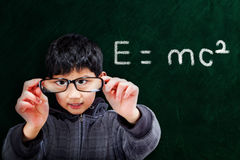 Smart Asian Boy at School Concept Stock Images